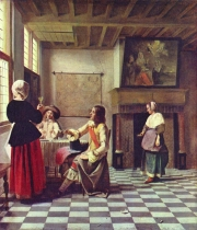 Pieter de Hooch: Frau mit zwei Männern beim Trinken und Magd (1658)