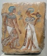 Künstlerskizze: Spaziergang im Garten; Amarna; Kalkstein; Neues Reich, 18. Dynastie, um 1335 v. Chr.