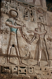 Bas-Relief am Totentempel von Ramses III. in Medinet Habou