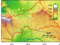 Zentralafrikanische Republik, topografische Karte