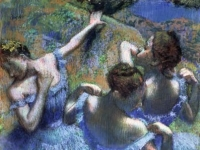 Edgar Degas: Tänzerinnen in Blau, Pastell, Puschkin-Museum, Moskau