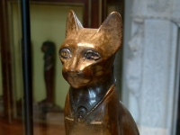 The cat goddess Bastet � Ancient Egyptian sculpture in Louvre museum, E 2533.