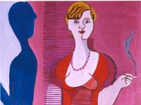 Ernst Ludwig Kirchner: Blonde Frau in rotem Kleid, Bildnis Elisabeth Hembus (1932) - Öl auf Leinwand - 150 x 75 cm