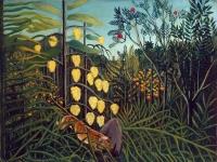 Henri Rousseau: kampf zwischen Tiger und Büffel (1891)