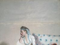 Jean-etienne Liotard - Portret van Marie Fargues, echtgenote van de kunstenaar, in Turks kostuum