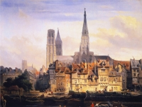 Johannes Bosboom - View of the Paris Quay and the Cathedral at Rouen