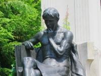 Johns Hopkins Monument, Johns Hopkins University, Baltimore, MD - man