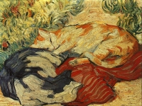 Franz Marc: Katzen auf rotem Tuch