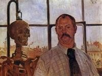 Lovis Corinth: Selbstporträt mit Skelett  (1896)