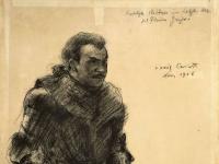 Lovis Corinth Rittner in Florian Geyer Kreidezeichnung