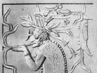 Maya-priester rauchend (Nachzeichnung), Palenque, Mexiko.