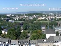 Moselbrücken in Koblenz, Staustufe Koblenz, Europabrücke, Moseleisenbahnbrücke und Balduinbrücke (v.l.n.r.)