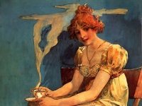 Mucha-Untitled_(seated_woman_with_coffee_cup,_watercolor)