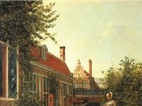 Pieter de Hooch - Frau mit Bohnenkorb im Gemuesegaertchen