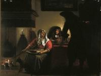 Pieter de Hooch - Interior with Two Gentleman and a Woman Beside a Fire
