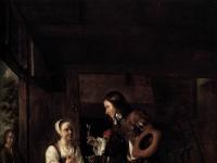 Pieter de Hooch - Man Offering a Glass of Wine to a Woman