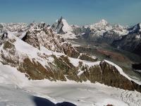 Pohled na Matterhorn a Dent Blanche