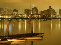 Sandiego harbor and skyline
