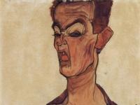 Selbstporträt, eine Grimasse schneidend