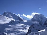 Strahlhorn und Rimpfischhorn, Walliser Alpen (Sicht aus Norden)