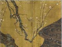 Ogata Korin: Red Prunus and White Prunus (right hand screen)