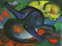 Franz Marc: Zwei Katzen, blau und gelb