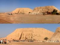 Ägypten: Abu Simbel - links der große Tempel des Ramses II. und rechts der kleine Tempel der Nefertari
