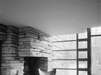 Fallingwater - Dressing Room stone fireplace