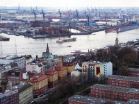 Die Elbe, von der Kuppel des Michels aus gesehen