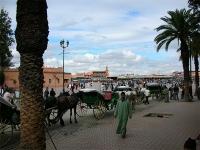 Djemaa El Fna, Pferdekutschen vor dem Platz