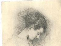 Gustav Klimt: Brustbild eines Mädchen mit gesenktem Kopf nach links