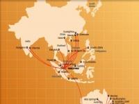 Flugrouten der Tiger Airways