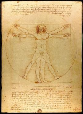 roportionsschema der menschlichen Gestalt nach Vitruv: Leonardo da Vinci (1485/90, Venedig, Galleria dell´ Accademia)