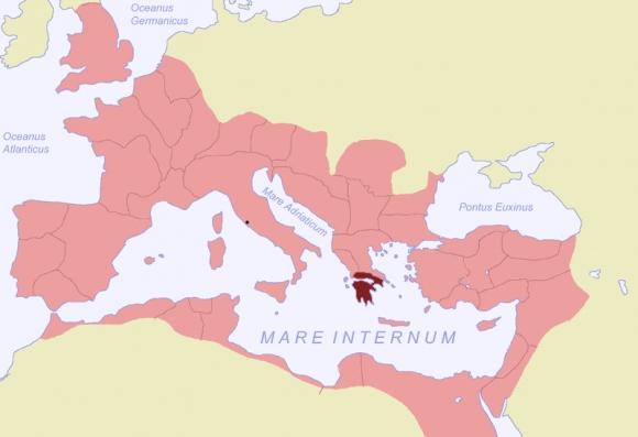 Karte des Römischen Reichs von 116, die Provinz Achaea hervorgehoben.