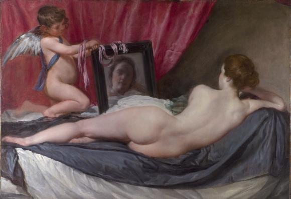 """Diego Velázquez: """"Venus vor dem Spiegel"""", 1648�1651, Öl auf Leinwand, 122,5 cm × 177 cm, National Gallery (London)"""
