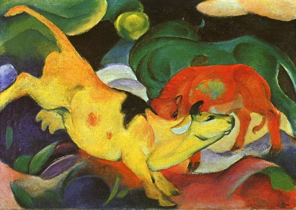 Franz Marc: Kühe, Gelf-Rot-Grün
