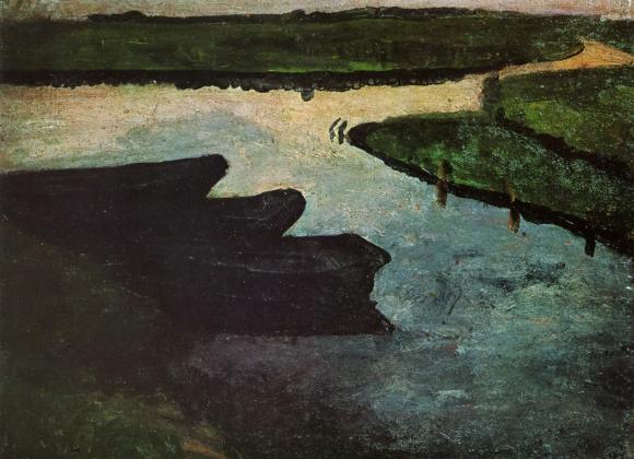 Moorkanal mit Torfkähnen