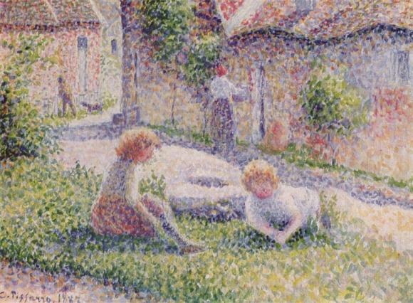 Kinder auf einem Bauernhof
