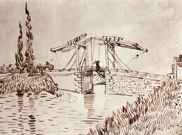 Vincent van Gogh: Die Anglois-Brücke bei Arles (Die Zugbrücke), 1888