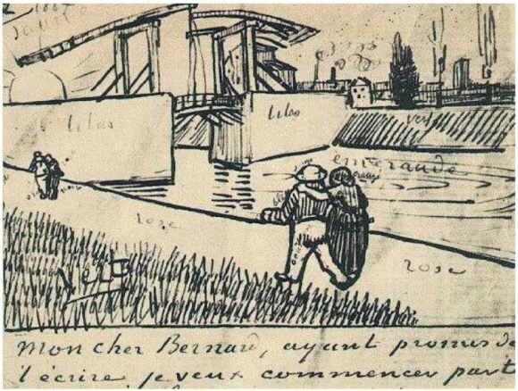 Die Langlois-Brücke bei Arles (Die Zugbrücke), aus dem Brief an Émile Bernard, 15 März 1888