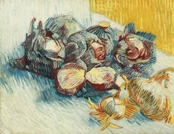 Vincent van Gogh: Stilleben mit Rotkohl und Zwiebeln (1887)