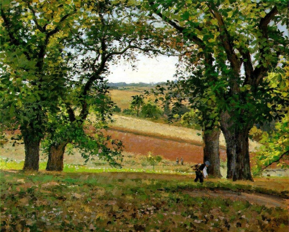 Camille Pissarro: Les chataigniers a Osny (1873)