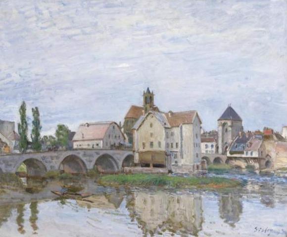 Alfred Sisley: Moret-sur-Long - Temps gris (1892)