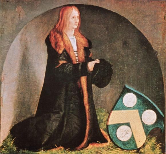 Albrecht Dürer: Heller-Altar, linker Flügel unten, Szene: Der Stifter Jacob Heller mit Wappen