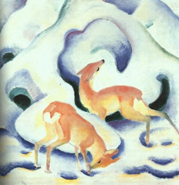Franz Marc: Rehe im Schnee