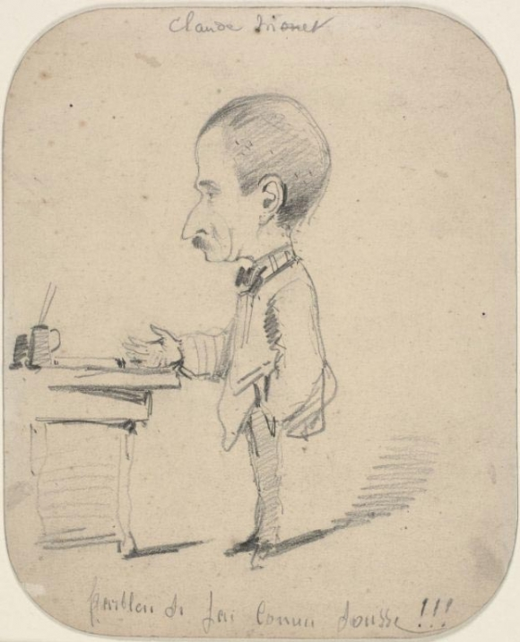 Claude Monet: Caricature of Man Standing by Desk (1855-1856)