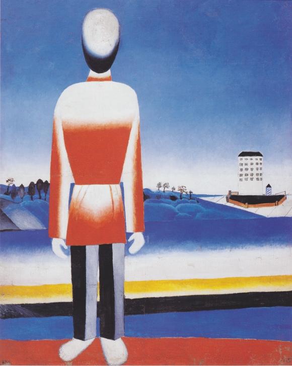 Malevich - Mann in suprematischer Landschaft