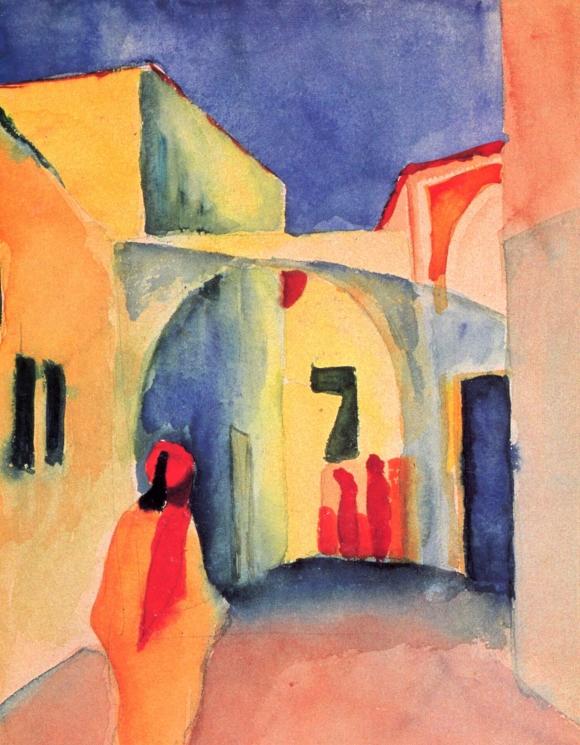 August Macke: Blick in eine Gasse (1914)