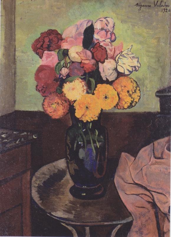 Suzanne Valadon - Blumenvase auf einem runden Tisch - 1920