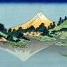 The_Fuji_reflects_in_Lake_Kawaguchi,_seen_from_the_Misaka_pass_in_the_Kai_province